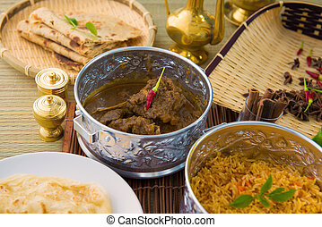 mutton korma famous food with traditional indian background...