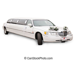 White wedding limousine decorated with bouquets, isolated