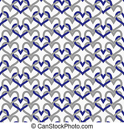 Gray and Blue Interlaced Circles Textured Fabric Background...