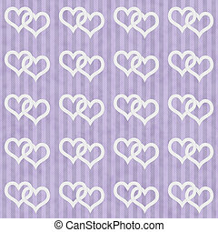 Purple and White Hearts and Stripes Textured Fabric...