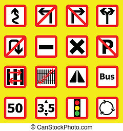 Traffic sign icons on yellow background, stock vector