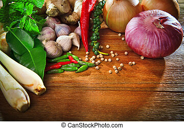 Tailandês, cozinha, alimento, tempero, erva, Cozinhar,...