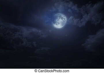 Night starry sky and moon Night cloudy sky Halloween...