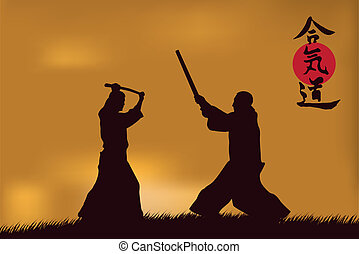 Aikido - illustration, men are occupied with aikido against...