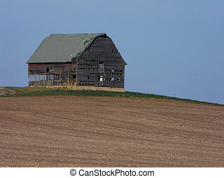 Midwestern Barn - Old abandoned barn on a rare hill in...