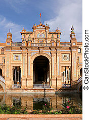 Famous Plaza de Espana, Sevilla, Spain Old city landmark