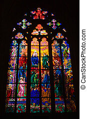 Stained glass windows of St Vitus in Prague, Czech Republic...