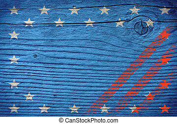 empty wooden board with American flag colors ready for product montage
