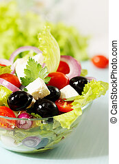 Greek salad with cheese - Greek salad with tomatoes olives...