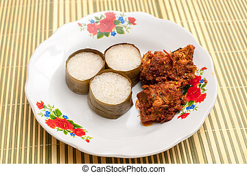 Lemang and Rendang ready to eat on Eid Festival - Lemang is...