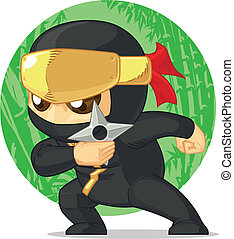 Cartoon of Ninja Holding Shuriken - A vector image of a...