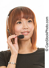 Woman with headset - Asian female wearing a headset with...