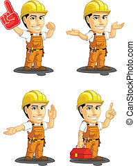 Industrial Construction Worker Cust - A vector set of a male...