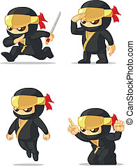 Ninja Customizable Mascot - A vector set of ninja in several...