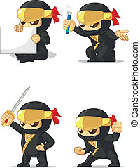 Ninja Customizable Mascot 2 - A vector set of ninja in...