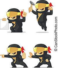 Ninja Customizable Mascot 4 - A vector set of ninja in...