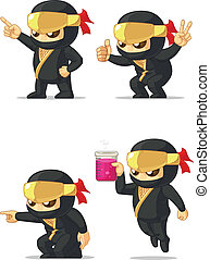 Ninja Customizable Mascot 5 - A vector set of ninja in...