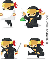 Ninja Customizable Mascot 7 - A vector set of ninja in...