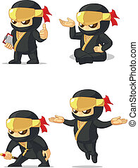 Ninja Customizable Mascot 10 - A vector set of ninja in...