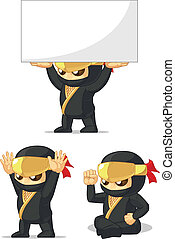 Ninja Customizable Mascot 11 - A vector set of ninja in...