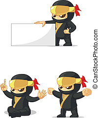Ninja Customizable Mascot 13 - A vector set of ninja in...