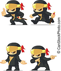 Ninja Customizable Mascot 15 - A vector set of ninja in...