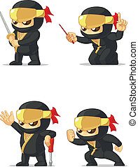 Ninja Customizable Mascot 16 - A vector set of ninja in...