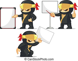 Ninja Customizable Mascot 18 - A vector set of ninja in...