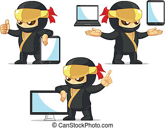 Ninja Customizable Mascot 19 - A vector set of ninja in...