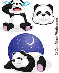 Panda Set 2 - Sleeping, Crying, Pan - A vector image of a...