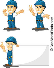 Technician or Repairman Mascot 7 - A vector set of a male...