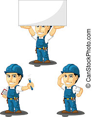 Technician or Repairman Mascot 8 - A vector set of a male...