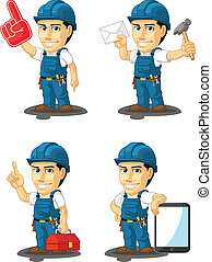 Technician or Repairman Mascot 15 - A vector set of a male...