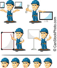 Technician or Repairman Mascot 16 - A vector set of a male...
