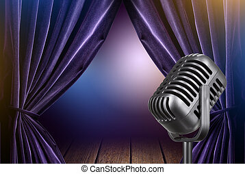stage with open curtains and microphone