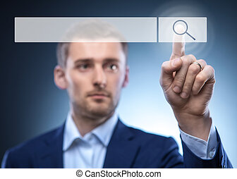 man touch search button