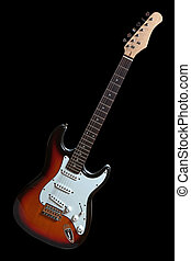 electric guitar isolated on black