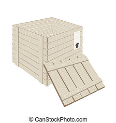 Open Wooden Cargo Box on White Background - An Illustration...