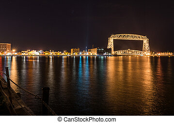 Duluth skyline at night - Skyline of Duluth, Minnesota, at...