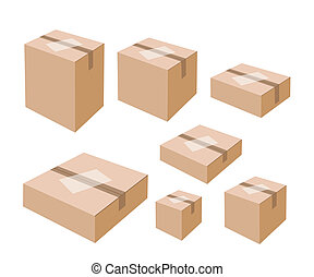 White Labels on Blank Brown Cardboard Boxes - Various Size...