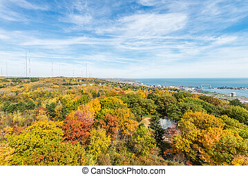 Autumn colored scene near harbor of Lake Superior