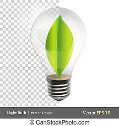 Bulb with a green leaf inside Realistic vector design