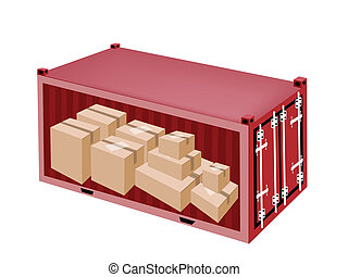 Cardboard Boxes in Cargo Container on White Background