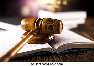 Legal gavel and law books