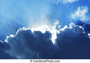 Blue sky - blue sky with sun light and beautiful clouds