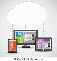 Modern gadgets with abstract tile interface. Cloud...