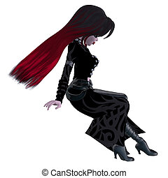 Pirate girl - Digitally rendered illustration of a gothic...