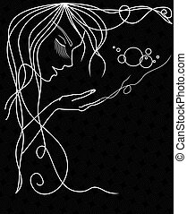 Woman Face Silhouette With Wavy Hair.