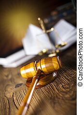 Mallet of judge, legal code, scales