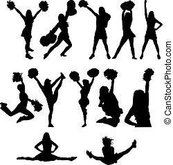 Cheerleader silhouette set - Cheerleader silhouette vector...